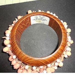 Neiman Marcus wooden & coral beaded bracelet